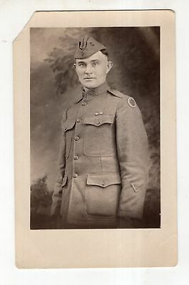 WWI RPPC Soldier with Advanced Service of Supply Uniform Shoulder Patch