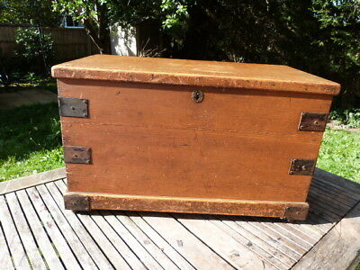 Antique Victorian Metal Banded Pine Chest/trunk/coffee Table. Original Casters.