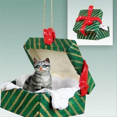 Shorthair Silver Tabby CAT Green Gift Box Holiday Christmas ORNAMENT