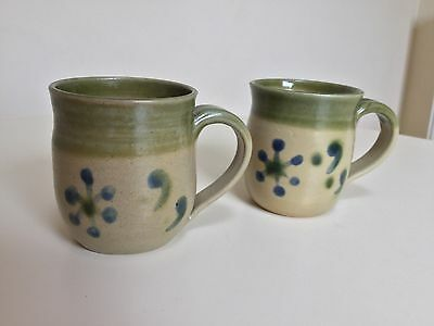 A Pair Of Studio Pottery Mugs, Stone, Green, Blue Pattern. Marked R C York