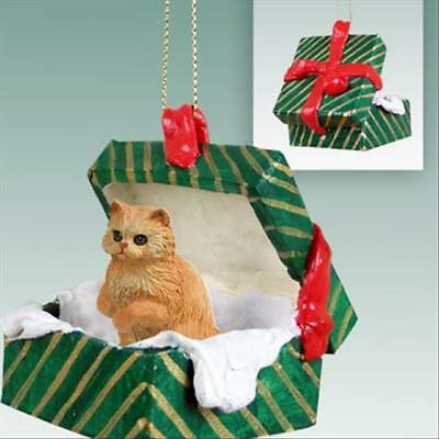 Persian Red CAT Green Gift Box Holiday Christmas ORNAMENT