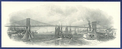 AMERICAN BANK NOTE Co. ENGRAVING: NEW YORK & BROOKLYN BRIDGE