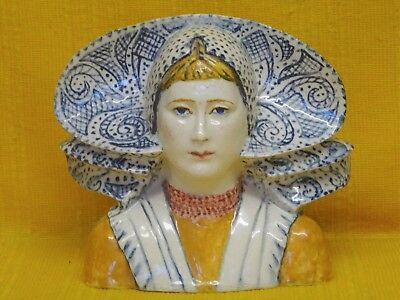 Fine Antique French Faience Breton Girl with Headdress, Quimper? Desvres?