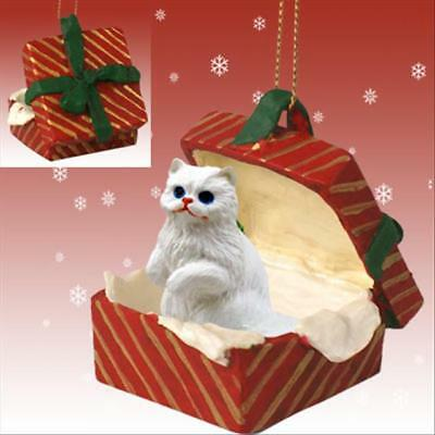 Persian White CAT RED Gift Box Holiday Christmas ORNAMENT