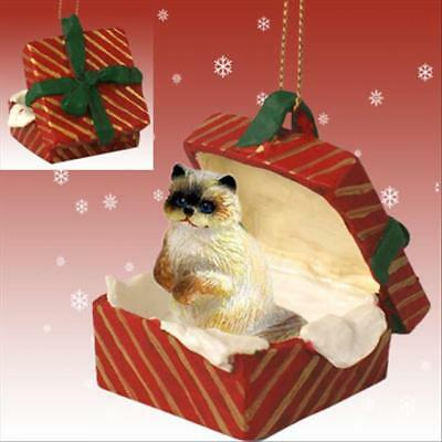 Ragdoll CAT RED Gift Box Holiday Christmas ORNAMENT