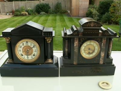 Pair of Antique Mantel Clocks, Metal by Ansonia NY plus French Slate & Marble