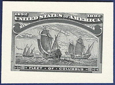 AMERICAN BANK NOTE Co. ENGRAVING: 379a FLEET OF COLUMBUS 1892 ENLARGED