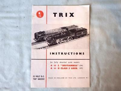 Trix Twin TTR 4-Page Instruction Leaflet for DC Britannia & BR Class 5 Loco's