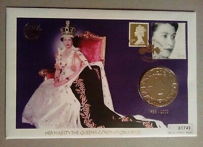 Hm The Queen's Coronation Jubilee Coin Cover £5 Coin 2003