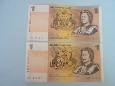 AUSTRALIA - 2 x $1 NOTES - KNIGHT/WHEELER & KINIGHT/STONE - P42b1/42c - BOTH VF