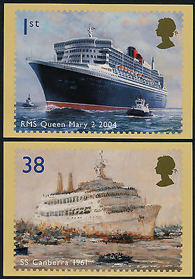 Great Britain 2202-7a Maxi (PHQ264) Cards- Ocean Liners, Ships