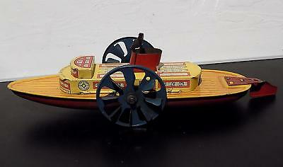 Vintage Tinplate Clockwork Paddle Steamer, Wells Brimtoy, Made in England, 50s
