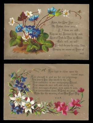 U24 - Two Religious Floral Victorian New Year Cards - C. Caswell