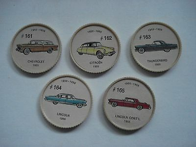 Jell-O Promotion Lot Of 5 Different Plastic Coins Car  Vintage Lot # 19