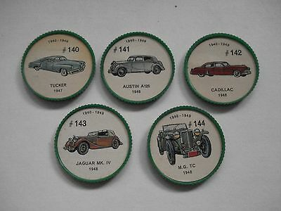 Jell-O Promotion Lot Of 5 Different Plastic Coins Car  Vintage Lot # 15