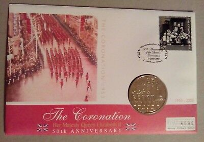 Hm The Queen's Coronation Jubilee Coin Cover £5 Coin Jersey 2003