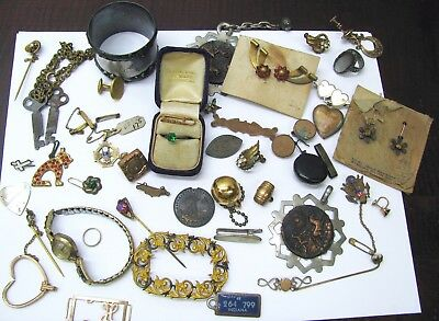 Lot of Vintage Jewelry Gold Silver Pins Ring Fobs Watch Etc. Junk Drawer