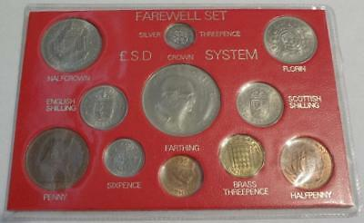 Great Britain Farewell 11 Coins Type Set, Including Silver 3-Pence