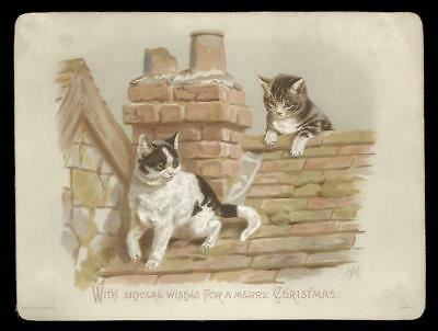 U45 - Cats On A Rooftop - Helena Maguire - Large Victorian Xmas Card - Davidson