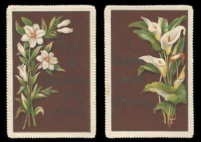 U47 - Lilies - Embossed Borders - Matched Pair Of Victorian Xmas Cards