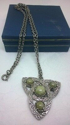 Vintage Jewellery Celtic Green Agate Signed Jacobite Silver Tone Necklace Rare
