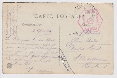 WW1 Oisemont Somme 1916 British Army Post Card to Hatch End Middlesex