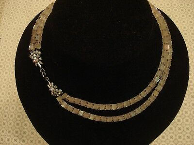 Beautiful Vintage 1940's; Double Row Of Opalescent Crystal Stones Set Necklace