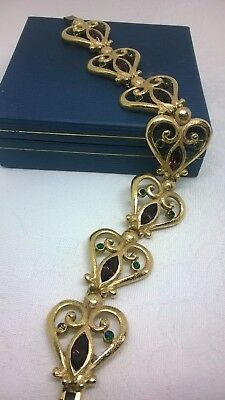 Vintage Jewellery Heart Panel Link Suffragette Colours Bracelet Textured Gold G