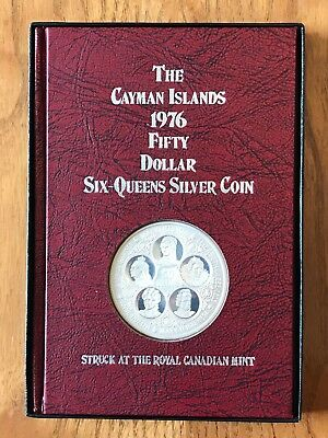 1976 Cayman Islands $50 Sterling Silver Dollar Six Queens Coin Boxed + Book