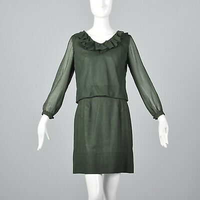 XS 1960s Bohemian Separates Mini Skirt Blouse Casual Green Outfit Vintage 60s