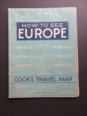 1937 EUROPE Large ART DECO Cook's Travel MAP Go Plan When What Danzig E. Prussia