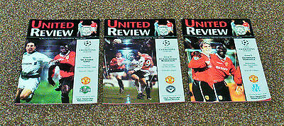 3 Manchester United Home Programmes- Season 1999/200 All European
