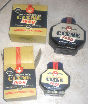 2 Vintage Cisne( Swan ) Fountain Pen Ink Royal Blue Bottle In Box 1950 Portugal