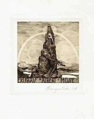FINGESTEN, Ex libris Albert Mosse, Mountains, signed, Deeken n. 478 - 1917 !!