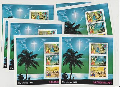 British Solomon Islands Christmas 1975 10 copies of mini sheet MNH attractive