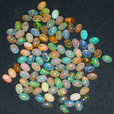 100 Pcs ~6mm/4mm IGLI Certified Lot Natural Ethiopian Opal AAA Strong Color Play