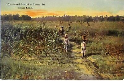 1910 Postcard Homeward Bound At Sunset In Dixie,black Workers,baskets On Heads