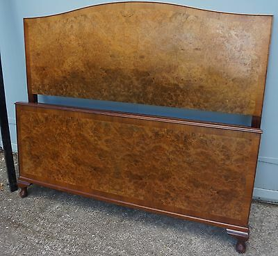 Vintage Blonde Burr Walnut Queen Anne French Vintage Mid 20Thc Double Bed Frame