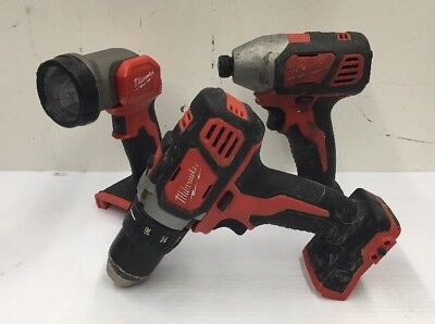 Lot of (3) Milwaukee Cordless Tools Drill/Driver-Impact Drill-Light