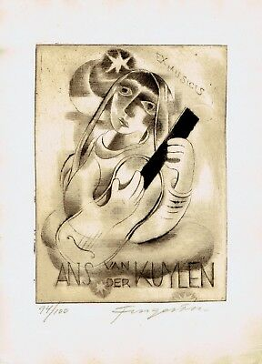 FINGESTEN, Ex libris Ans van der Kuylen, signed and numbered, Deeken n. 288