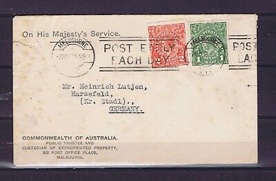 D4708 AUSTRALIA 1930 official cover to Germany with 1d & 2d KGV OS