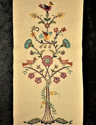 Jacobean Floral Tree of Life Finished Completed Vtg Tapestry Crewel Embroidery