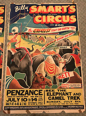 Vintage Billy Smart's Circus poster 1956 - elephant and camel trek in Penzance