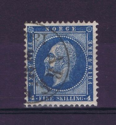 K0022 NORWAY 1856 King Oskar I 4skilling blue definitive issue used