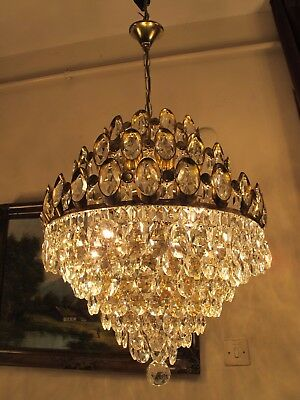 Antique Vintage Big French  Basket Style Crystal Chandelier Lamp 1960's.17 in..