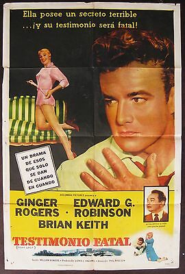 Tight Spot 1958 Brian Keith Ginger Rogers Original Spanish / US Poster