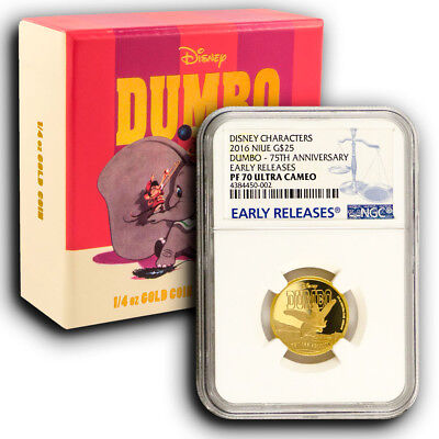 2016 NIUE 1/4 oz Proof Gold Coin Disney Dumbo NGC PF70 Early Releases With Box