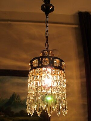 Antique Vnt.French Basket Style Crystal Chandelier Lamp Light 1940's.7 in RARE..