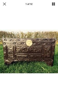 Carved Coffer Box Chest Trunk Antique Style