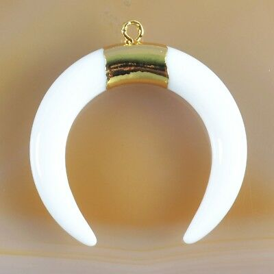 Crescent Moon Double Horn White Glass Charm One Bail Gold Plated T047044